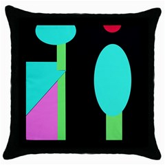 Abstract landscape Throw Pillow Case (Black)