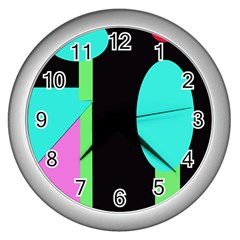Abstract landscape Wall Clocks (Silver)