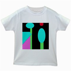 Abstract landscape Kids White T-Shirts