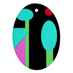 Abstract landscape Oval Ornament (Two Sides)