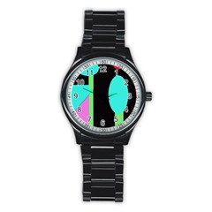 Abstract landscape Stainless Steel Round Watch