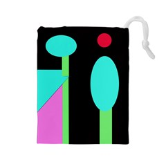 Abstract landscape Drawstring Pouches (Large)