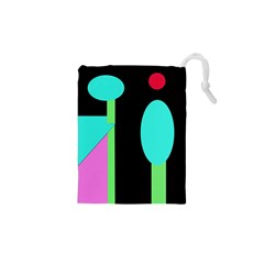 Abstract landscape Drawstring Pouches (XS)
