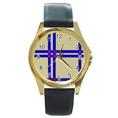 Elegant lines Round Gold Metal Watch
