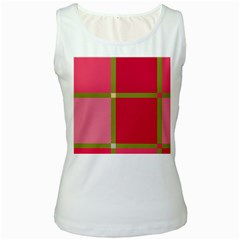 Red and green Women s White Tank Top