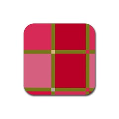 Red and green Rubber Coaster (Square)