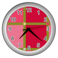 Red and green Wall Clocks (Silver)