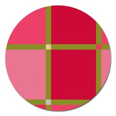 Red and green Magnet 5  (Round)