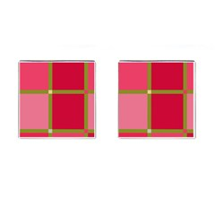 Red and green Cufflinks (Square)