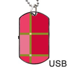 Red and green Dog Tag USB Flash (One Side)
