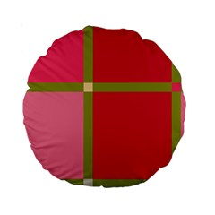 Red and green Standard 15  Premium Round Cushions