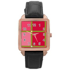 Red and green Rose Gold Leather Watch
