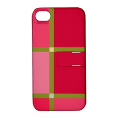 Red And Green Apple Iphone 4/4s Hardshell Case With Stand