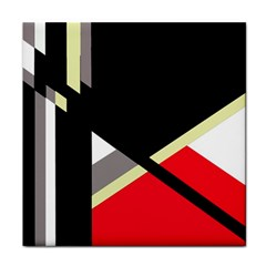 Red and black abstraction Tile Coasters