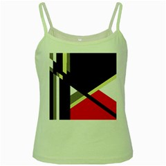 Red and black abstraction Green Spaghetti Tank