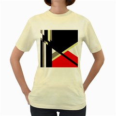 Red and black abstraction Women s Yellow T-Shirt