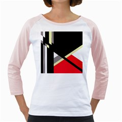 Red and black abstraction Girly Raglans