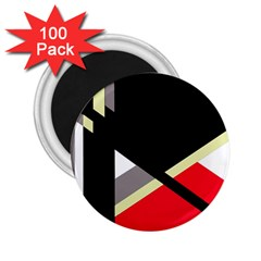 Red and black abstraction 2.25  Magnets (100 pack)