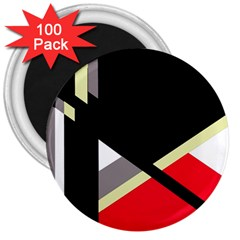 Red and black abstraction 3  Magnets (100 pack)