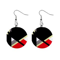 Red and black abstraction Mini Button Earrings