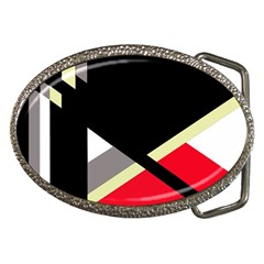 Red and black abstraction Belt Buckles