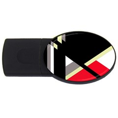 Red and black abstraction USB Flash Drive Oval (2 GB)