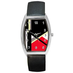 Red and black abstraction Barrel Style Metal Watch