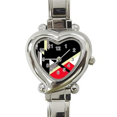 Red and black abstraction Heart Italian Charm Watch
