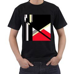 Red and black abstraction Men s T-Shirt (Black) (Two Sided)