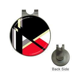 Red and black abstraction Hat Clips with Golf Markers
