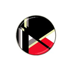Red and black abstraction Hat Clip Ball Marker (4 pack)