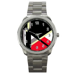 Red and black abstraction Sport Metal Watch