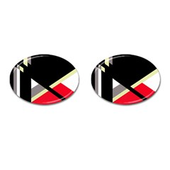 Red and black abstraction Cufflinks (Oval)