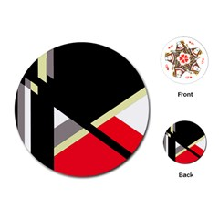 Red and black abstraction Playing Cards (Round)