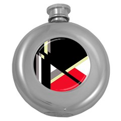 Red and black abstraction Round Hip Flask (5 oz)
