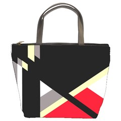 Red and black abstraction Bucket Bags