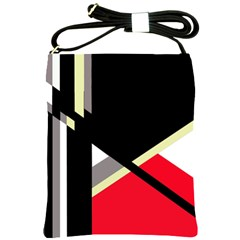 Red and black abstraction Shoulder Sling Bags