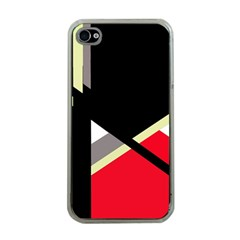 Red and black abstraction Apple iPhone 4 Case (Clear)