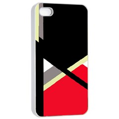 Red and black abstraction Apple iPhone 4/4s Seamless Case (White)