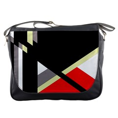Red and black abstraction Messenger Bags