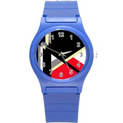 Red and black abstraction Round Plastic Sport Watch (S)