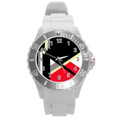 Red and black abstraction Round Plastic Sport Watch (L)