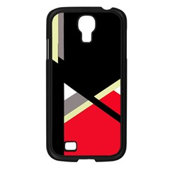 Red and black abstraction Samsung Galaxy S4 I9500/ I9505 Case (Black)