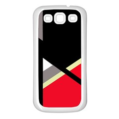 Red and black abstraction Samsung Galaxy S3 Back Case (White)
