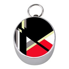 Red and black abstraction Mini Silver Compasses