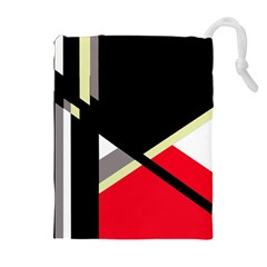 Red and black abstraction Drawstring Pouches (Extra Large)