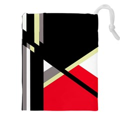 Red and black abstraction Drawstring Pouches (XXL)