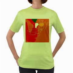 Orange abstraction Women s Green T-Shirt