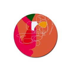 Orange abstraction Rubber Round Coaster (4 pack)