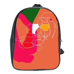 Orange abstraction School Bags(Large)